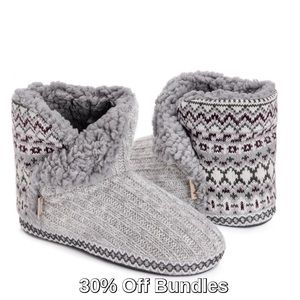 Muk Luks A La Mode Bootie Slipper, Gray